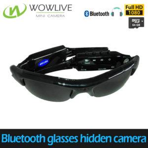 Wearable 1080P bluetooth sunglasses hidden camera with earphone