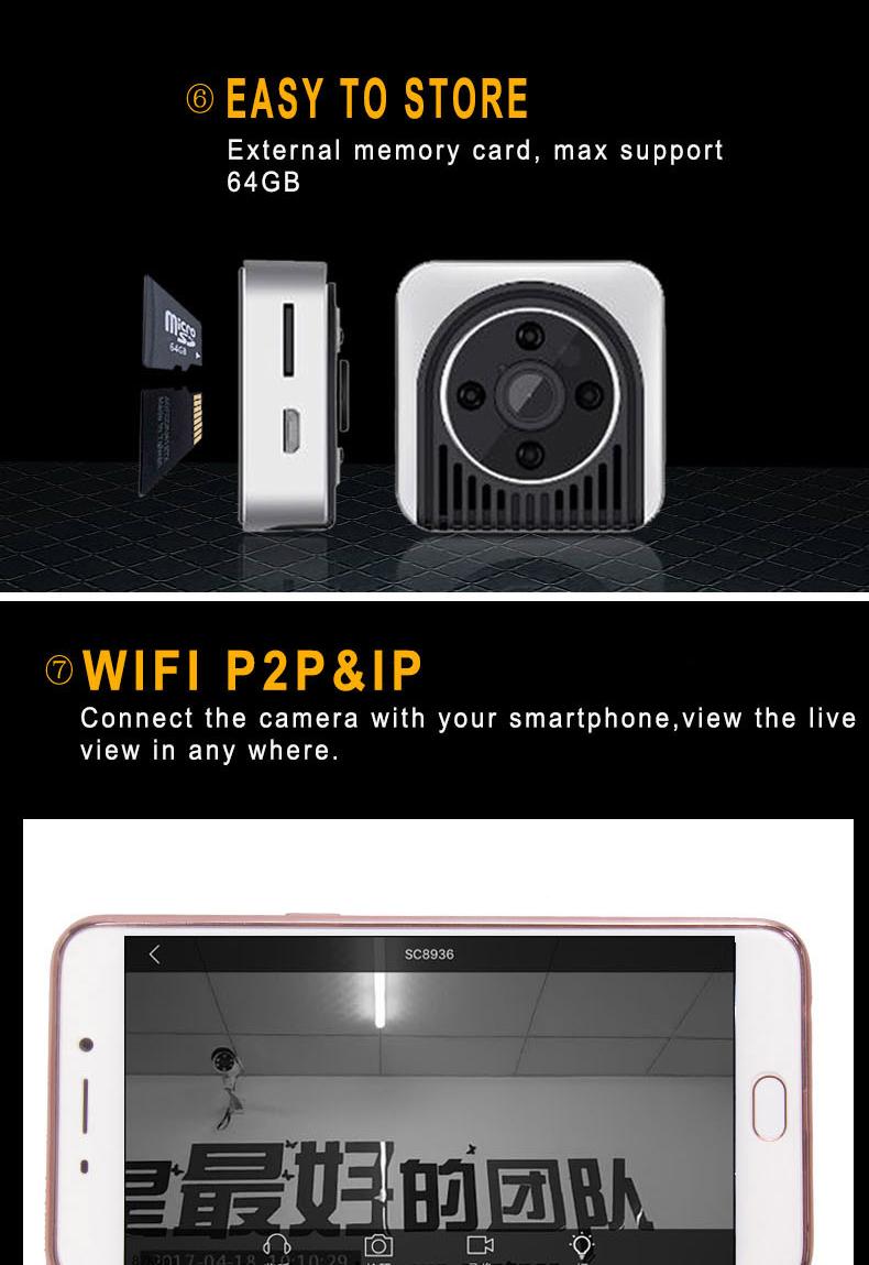 mini night vision wearable wifi magnetic camera wf720mcn