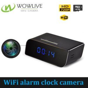 Hot sale alarm clock 720p HD wireless wifi battery operat hidden spy camera WF-720SAC
