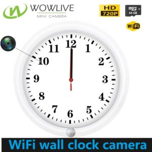 720P HD White/Black Wall Clock Covert WiFi Hidden Camera WF-720PWC